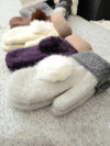 Women Winter Gloves Warm Knitted Wool Gloves Real Rabbit Fur Pompom Mittens