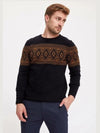 ASHORESHOP Men White Black Tribe Pattern Pullover Sweaters S-3XL