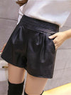Women high waist black leather shorts for women Straight Solid Elastic Waist