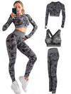 Camouflage Seamless 3pc Yoga Sets Gym Suit Womens Activewear