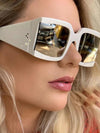 Oversized Square Sunglasses Women White Silver Mirror Rivet Sun Glasses