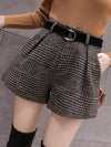 ASHORESHOP Daily Leisure High Waist Plaid Wide Leg Shorts