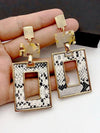 New Vintage Leopard Earrings for Women Fashion Classic Leather Square Earring