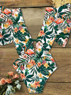 ASHORESHOP Women Swimsuit Floral Bathing Suit Deep-V Backless Beach Wear