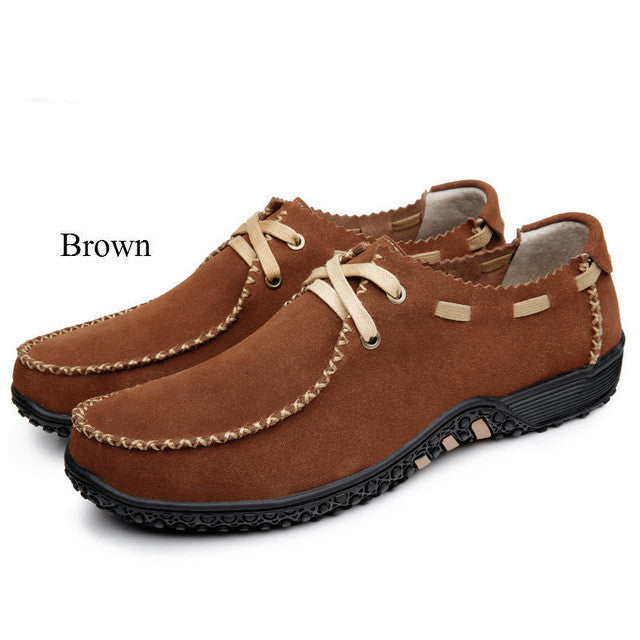 Men Casual Handmade Natural Cowhide Flat Leisure Lazy Driving