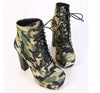 2017 New Women Autumn Boots High Heels Platform Camouflage Ankle Boots