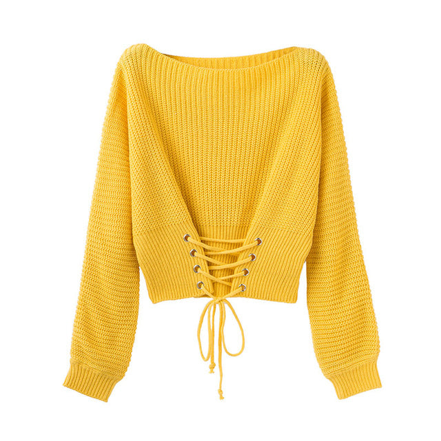 Women S Pullover Front Lace Up O Neck Knitted Sweaters Trendy Loose