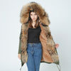 Winter Super warm real  fur coat big raccoon fur collar hooded parkas thick outerwear