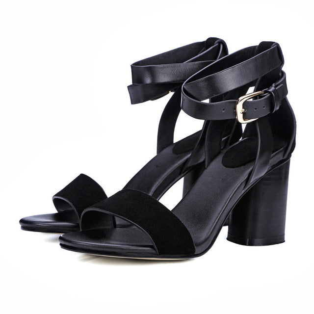 c259ea67ee4 Women Designer Classics Sandals Ankle Straps Casual Office Lady Woman Shoes  Black Brown