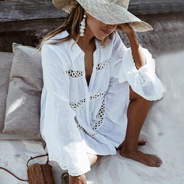 Ashoreshop Summer Dresses Female Hollow out Sexy Beach Dress Shirt White  Flared Sleeves