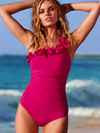 Ashoreshop One Shoulder Halter One Piece Ruffle Swimsuit Retro Biquini Bathing Suit