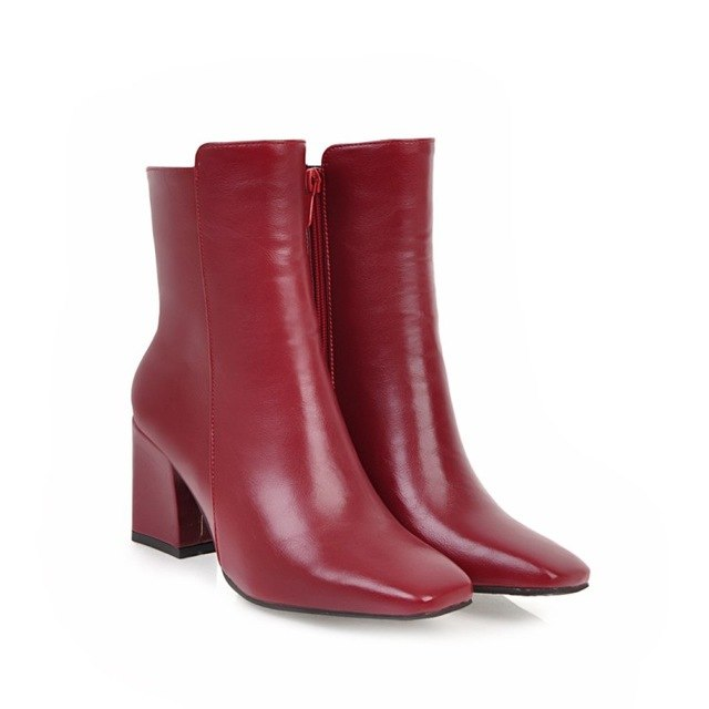 Women Fall Winter Ankle Boots Square