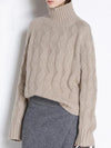 Cashmere sweater ashoreshop women turtle neck loose fit sweater