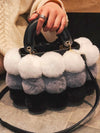 women tote bag fur bag winter bag shoulder bag