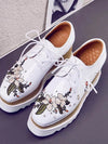 Womens genuine leather lace up embroidery flowers flat platform