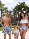 Family matching swimwear beachwear mommy Daddy and me swimsuit