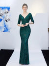 ASHORESHOP Women Holiday Evening Maxi Dress Elegant Mermaid Long Evening Green Sequin Dress