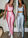 Shiny pink and blue body suits active gym suits Modern Athleisure body suits