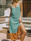 2021 Beach Bohemian strappy long V neck Floral print BOHO Dress