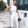White Bodycon Sleeveless Jumpsuits Sporty Workout Body Suits