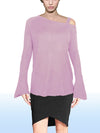 ASHORE WOMENS ASYMMETRIC OFF THE SHOULDER LUXURY FINE SWEATER