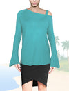 ASHORE WOMENS ASYMMETRIC OFF-THE-SHOULDER FINE SWEATER
