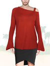 ASHORE WOMENS ASYMMETRIC OFF THE SHOULDER FINE SWEATER