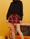 Women Red Plaid Leather Patchwork Pocket Woolen Skirt