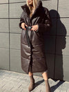 Winter Warm Long Leather Parkas Women Fashion Straight Loose Pockets Coats