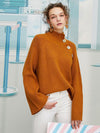 ASHORESHOP high neck pullover flared sleeve short knit sweater women