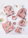 Women 7 Pieces Pajamas Set 7 Pieces Stripes Faux Silk Printing Sleepwear