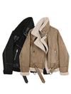 Womens Suede short jacket women's loose fur leisure motorcycle jacket