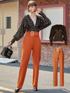 ASHORESHOP 2020 Womens Autumn Outfit Looks retro polka dot chiffon top and Belted pant