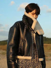 Womens autumn and winter PU leather and Faux Shearling Coat