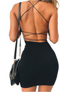 Women Sexy Bodycon Party Dresses Backless Spaghetti Straps mini dresses