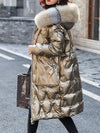 Fox fur Hooded Parkas Women 2020 New Winter Glossy Down Jacket