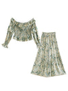 Vacation 2pc Sets  Bohemia Ruched Elastic Slash Tops and+ Flare Long Skirts