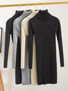 Turtleneck Super Stretch Sweater Dresses Sparkling Knitted Sweater