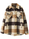 Ashoreshop Womens Autumn Wool Plaid Shirt Jackets