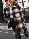 Womens Plaid Shirt jackets  ladies thick plaid coat female streetwear elegant ladies oversize jacket chic