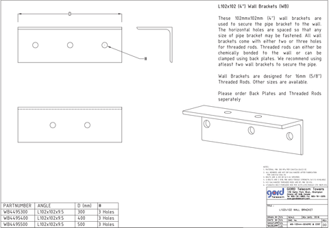 "L102x102 (4"") Wall Brackets (WB)"