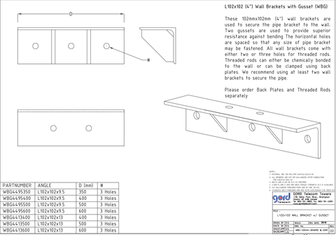 "L102x102 (4"") Wall Brackets with Gusset (WBG)"