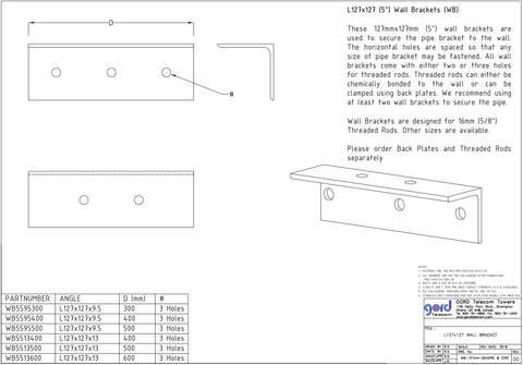 "L127x127 (5"") Wall Brackets (WB)"