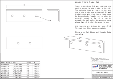 "L152x152 (6"") Wall Brackets (WB)"