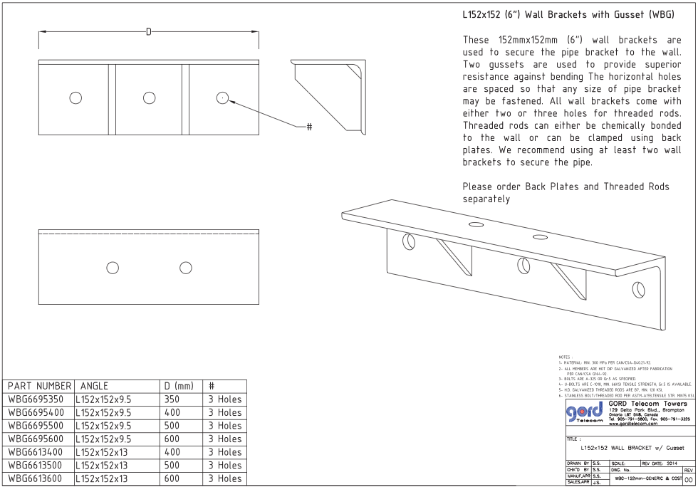 "L152x152 (6"") Wall Brackets with Gusset (WBG)"