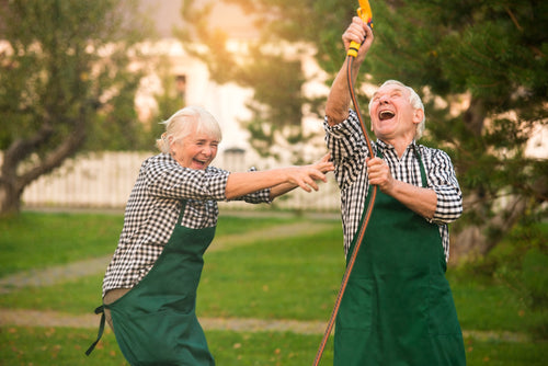 Cheerful senior people outdoors