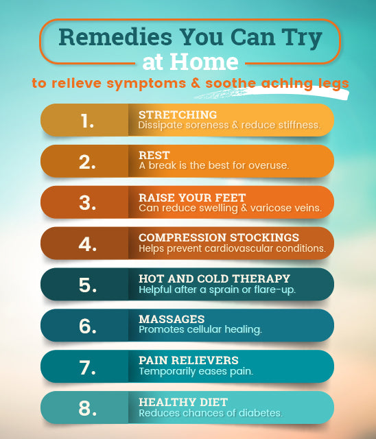 home remedies relieve aching legs graphic