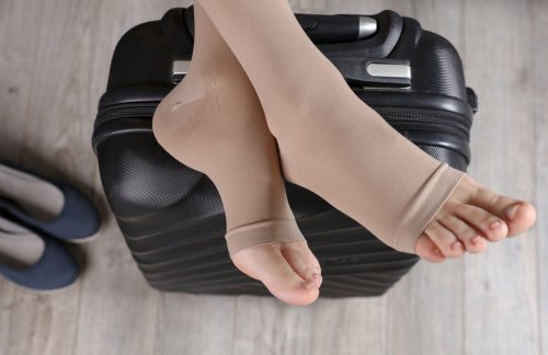 wearing compression socks on flight