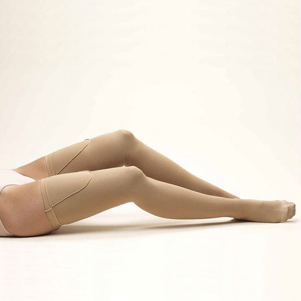 FLA Activa Anti-Embolism Closed Toe Thigh High Stockings - 18 mmHg