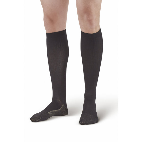 Ames Walker Compression Men's Knee High Socks Black  20-30 mmHg
